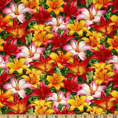 SSI Floral Fascination Lilly Packed Flowers Quilt Fabric
