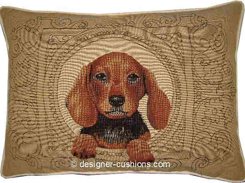 Medallion Dachshund Light Tapestry Oblong Cushion Cover