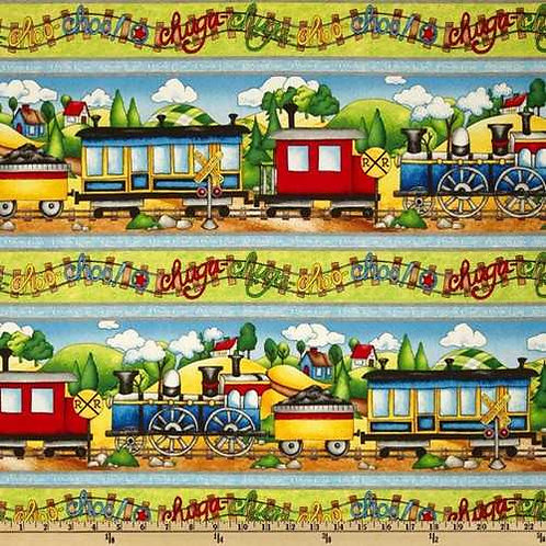 Wilmington Prints Riding the Rails Border Quilt Fabric 67183-457W