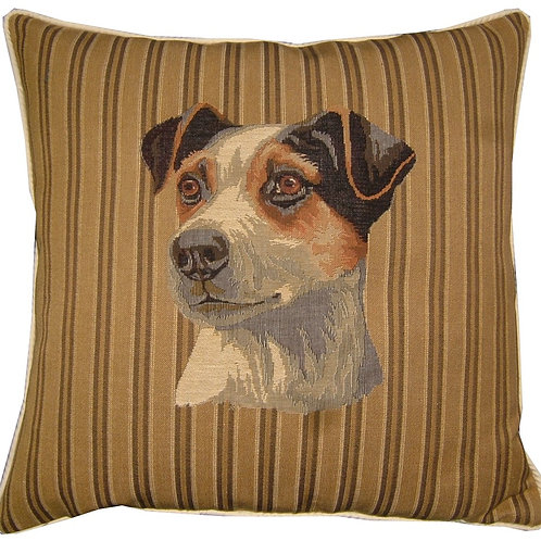 Jack Russell Head Stripe Tapestry Cushion Cover