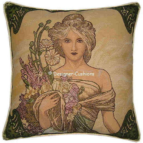 Alphonse Mucha Spring Tapestry Cushion Cover