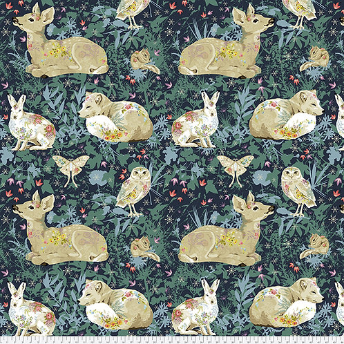 Odile Bailloeul Land Art Enchanted Forest Navy PWOB018.NAVY Quilt Fabric