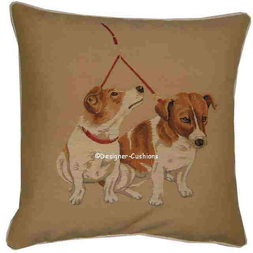 Pair Jack Russells on Lead Tapestry Cushion Cover