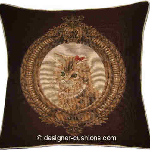 Kitten in Frame Caprice Brown Tapestry Cushion Cover