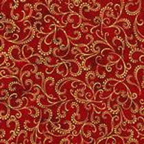 Robert Kaufman Winters Grandeur Crimson SRKM-16583-91 Metallic Quilt Fabric