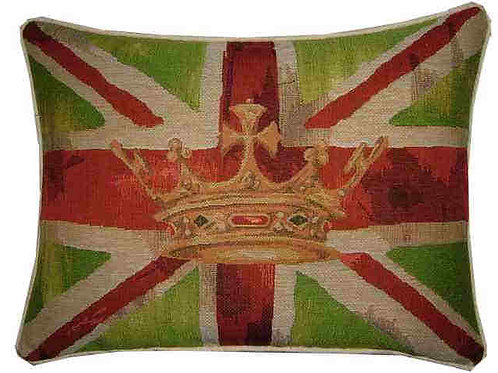 Union Jack Lime Green Design #2 Flag Tapestry Oblong Cushion Cover