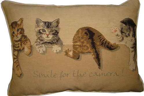 Smile for the Camera Kittens Oblong Tapestry Oblong Cushion Cover