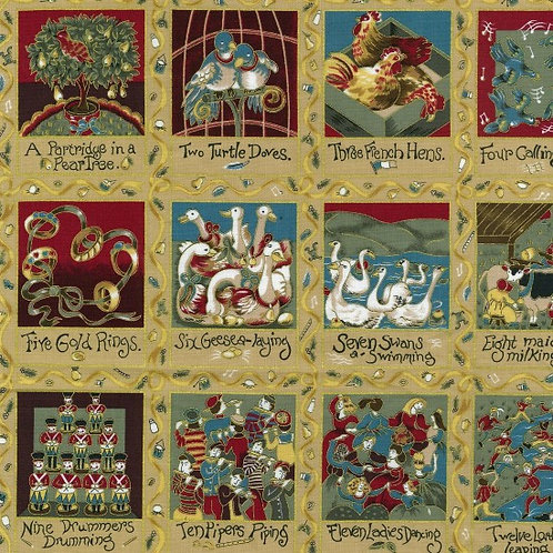 Nutex 12 Days of Christmas Card Making Squares Quilt Fabric 30cm / 12""