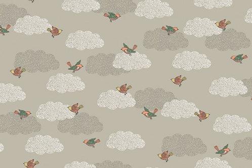 Makower Doodle Days Birds Clouds Grey Quilt Fabric