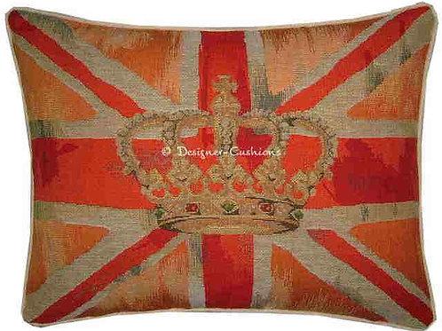 Union Jack Orange Design #1 Flag Tapestry Oblong Cushion Cover