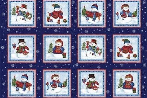 "Bernatex Winter Wishes Snowman Panel 60cm (24"") Quilt Fabric"