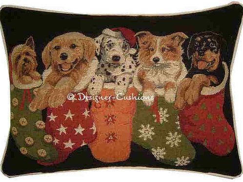Christmas Puppies Oblong Tapestry Oblong Cushion Cover