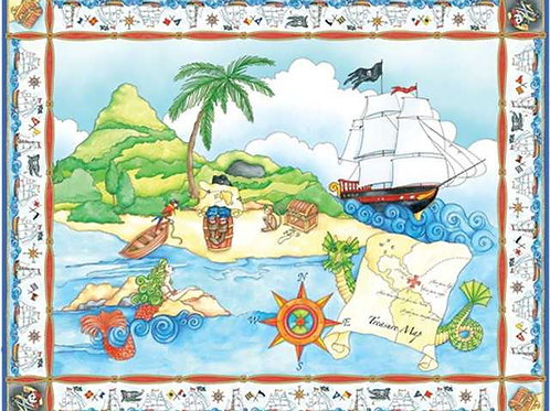 Avlyn Pirate Treasure Panel 90cm Quilt Fabric