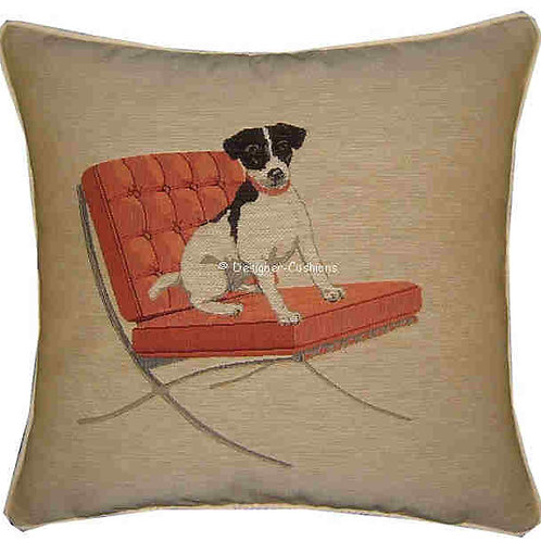 Jack Russell Red Retro Chair Cream Tapestry Cushion Cover