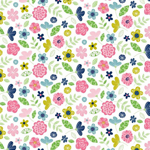 Nutex Novelty Wildflower Honey White Floral 80270 Col2 Quilt Fabric