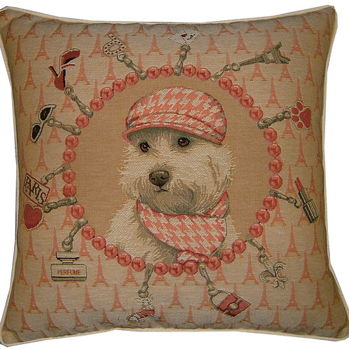 Bichon Frise Baker Tapestry Cushion Cover