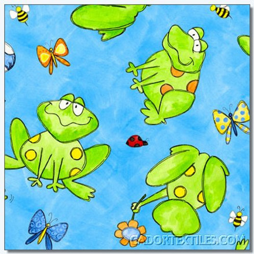 Tara's Brights Blue Frogs Quilt Fabric