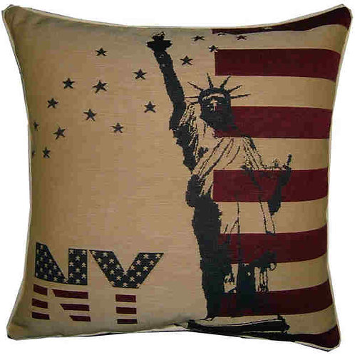 New York Statue of Liberty Flag Tapestry Cushion Cover
