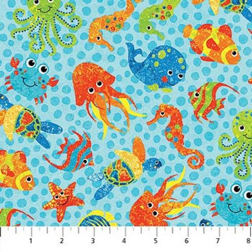Northcott Kids Undersea 3D Blue Sea Creatures 39408-64 Quilt Fabric