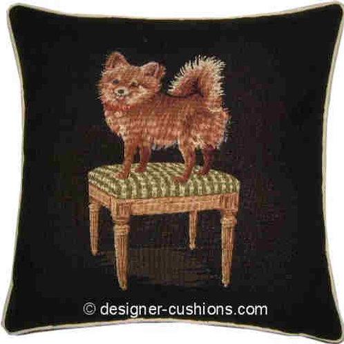 Papillon Chihuahua Green Stool Tapestry Cushion Cover