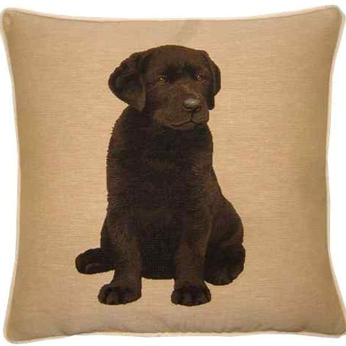 Chocolate Labrador Puppy Tapestry Cushion Cover