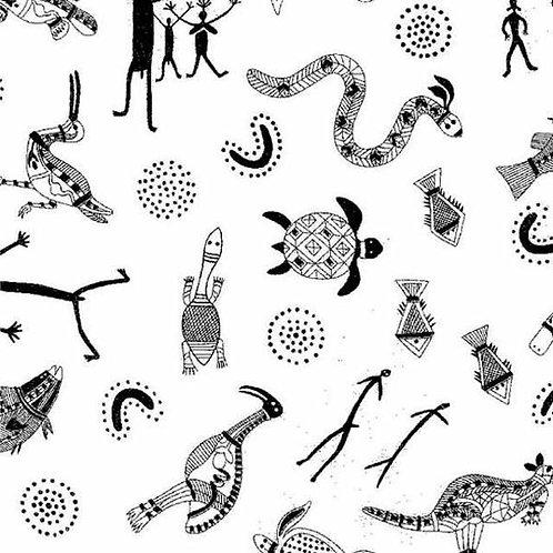 Nutex Australiana Ballanda Black & White Quilt Fabric