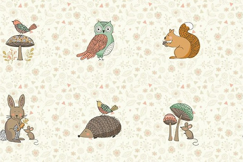 Makower Doodle Days Animal Placement Quilt Fabric