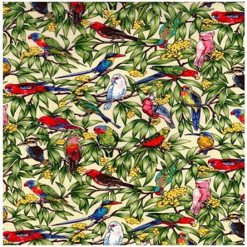 Australiana Birds in Paradise Cream Quilt Fabric 10070 Col1