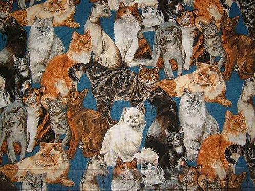 Nutex Novelty Cats Corner Cat & Kittens Allover Quilt Fabric