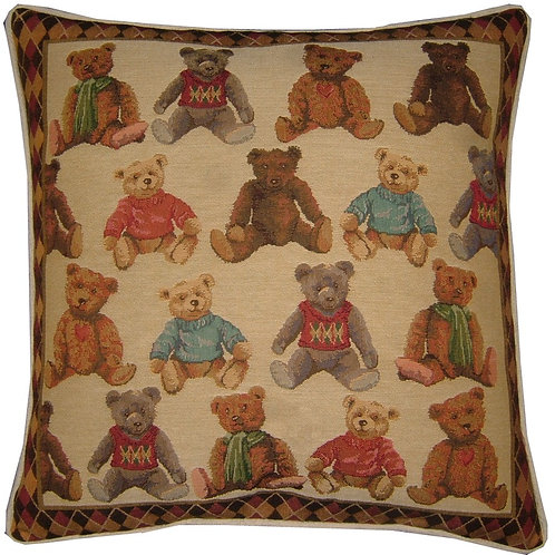Teddy Bears Allover Tapestry Cushion Cover