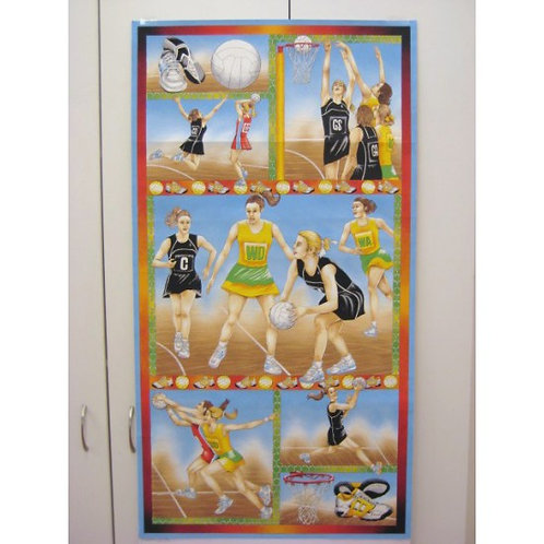 Nutex Court Time Netball Quilt Panel Fabric 60cm / 24""