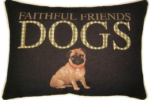 Pug 'Faithful Friend' Tapestry Oblong Cushion Cover