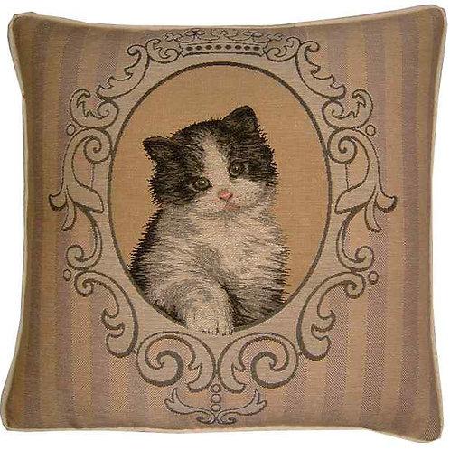 Framed Black & White Kitten Tapestry Cushion Cover
