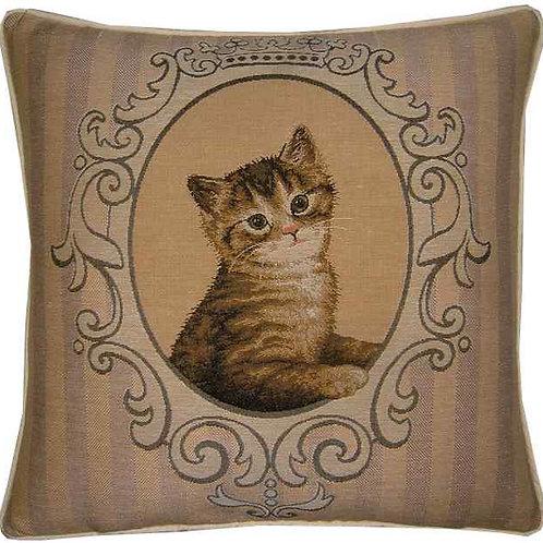 Framed Tabby Kitten Tapestry Cushion Cover