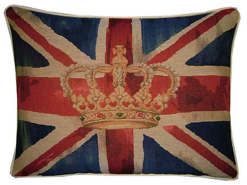 Union Jack Royal Blue Design #1 Flag Tapestry Oblong Cushion Cover