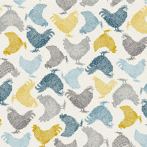Makower 'Grove' Chickens 93480 Col6 Quilt Fabric
