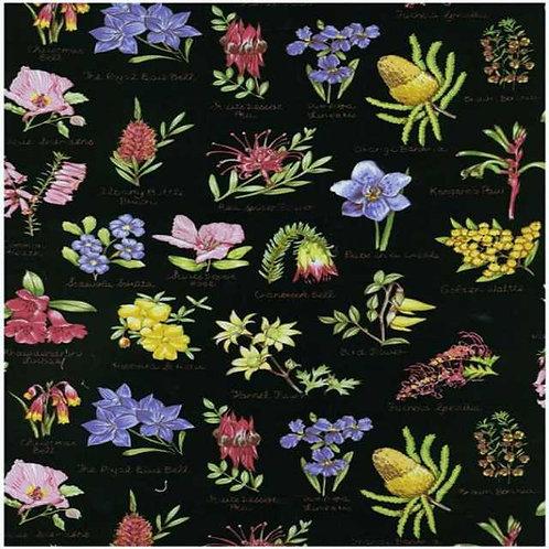 Nutex Australiana Flowers Flora Black Quilt Fabric Col2