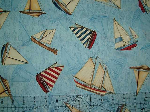 Wilmington Prints Gone Sailing Blue Ships Toss Quilt Fabric