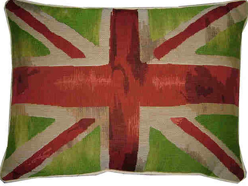 Union Jack Lime Green Design #3 Flag Tapestry Oblong Cushion Cover