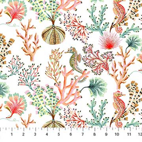 Figo Sarah Gordon Sea Botanica Seahorses & Coral 90240-10 Quilt Fabric