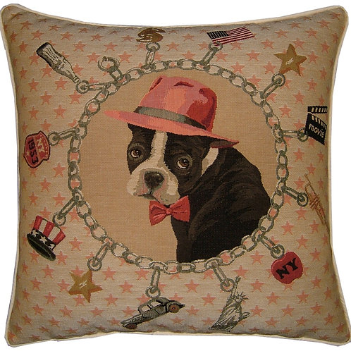 Boston Terrier Al Capone Tapestry Cushion Cover