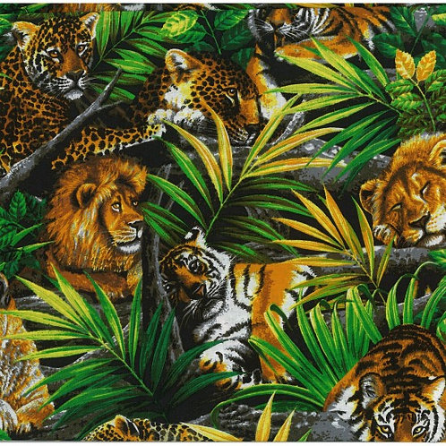 Nutex Jungle Life Wild Cats Wild Animal Novelty Quilt Fabric