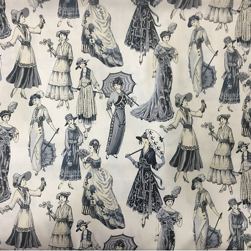 Nutex Novelty Victorian Ladies Quilt Fabric