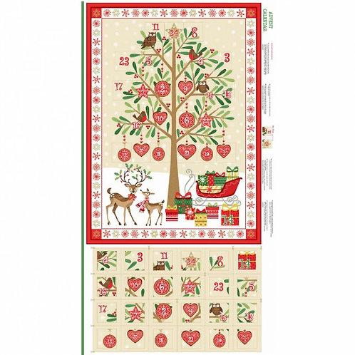 "Makower Metallic Christmas Advent Calendar 60cm / 24"" panel"