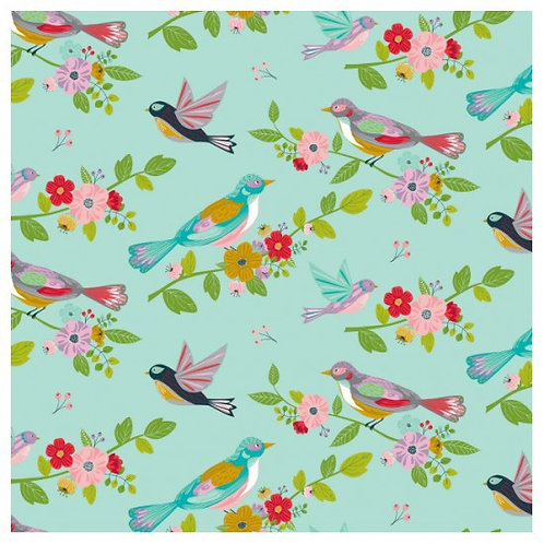 Nutex Novelty Sunshine Mint Birds 80560 Col3 Quilt Fabric