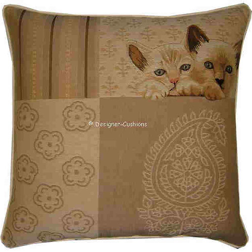 Pair of Kittens Peeping Tapestry Cushion Cover