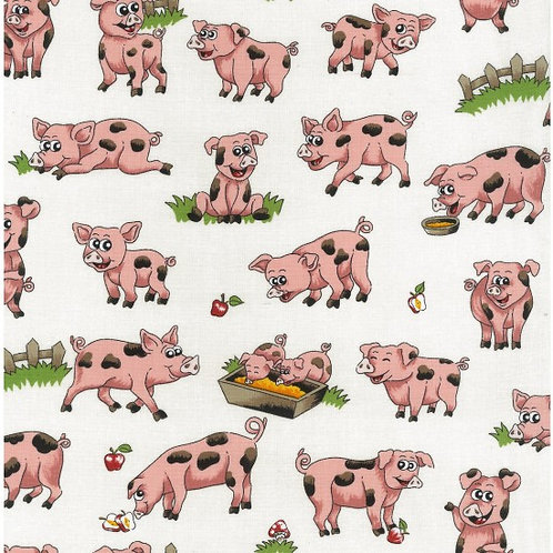 Nutex Novelty Farm Fun Pigs 80500 Col4 Quilt Fabric