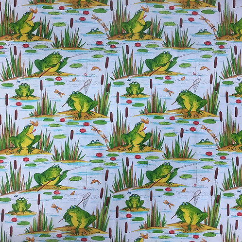 Timeless Treasures Fishing Frogs Blue Quilt Fabric