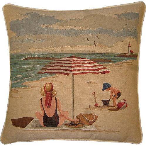 Beach Theme Umbrella Tapestry Cushion Cover