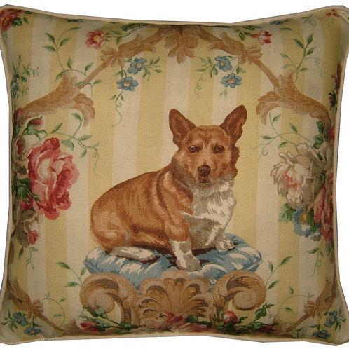 """Lee Jofa """"Putting on the Dogs"""" Corgi Cushion Cover"""